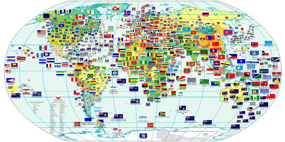 Flags Of The World With Country Names Countries And Some Administrative Divisions